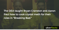 "http://www.green215.com/node/316: The DEA taught Bryan Cranston and Aaron  Paul how to cook crystal meth for their  roles in ""Breaking Bad.""  uber  facts http://www.green215.com/node/316"