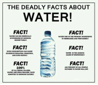Anaconda, Drinking, and Facts: THE DEADLY FACTS ABOUT  WATER!  FACT!  FACT!  WATER CAN BE CHEMICALLY  SYNTHESIZED BY BURNING  ROCKET FUEL!!!  WATER ONE OF THE PRIMARY INGRIDIENTS  IN HERBICIDES AND PESTICIDES!!!  FACT!  FACT!  OVER CONSUMPTION CAN CAUSE  EXCESSIVE SWEATING, URINATION  AND EVEN DEATH!!!  WATER IS THE LEADING  CAUSE OF DROWNING!  FACT!  100%  FACT!  100 PERCENT OF ALL PEOPLE  EXPOSED TO WATER WILL DIE!  OF ALL SERIAL KILLERS  RAPIST AND DRUG DEALERS HAVE  ADMITTED TO DRINKING WATER!!!