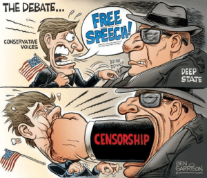 Free, Conservative, and Censorship: THE DEBATE...  FREE  SPEECH!  CONSERVATIVE  VOICES  DOINK  DOINK!!  DEEP  STATE  CENSORSHIP  BEN  GARRISON  GRURORAPHICS,O Actions have consequences...