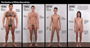 I'd do 'em all: The Decline of White Masculinity  Average White Male  Average White Male  Average White Male  Average White Male  Predicting from current trends,  in the 2040s on average, white  2010s  1940s  2040s  1980s  Age 25  Height 1.88 m  Weight 90 kg  Age 25  Height 1.80 m  Weight 78 kg  Age 25  Height 1.70 m  Weight 65 kg  males will be smaller and weaker  Age 25  Height 1.57 m  Weight 48 kg  Significant  musculature  than females of all races.  and strength  Light  chest hair  Some  musculature  and strength  No chest  Limited  hair  musculature  and strength  No muscular  Development  of proto-breasts  development;  physically  weak  Light  pubic  Thick  Thick  body hair  pubic hair  hair  No body hair  Penis Length  Flaccid 8 cm  Erect 15 cm  Penis Length  Flaccid 6 cm  Penis Length  Flaccid 4 cm  Penis Length  Flaccid 10 cm  Erect 11 cm  (erection not  possible)  Erect 19 cm I'd do 'em all
