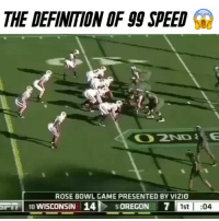 Gg, Memes, and Usain Bolt: THE DEFINITION OF gg SPEED  ROSE BOWL GAME PRESENTED BY VIZIO  ST 10 WISCONSIN I 14 OREGON 7  1st I  04 Usain bolt of football 😤 - (FOLLOW @dankrushes FOR A CHANCE TO WIN A SHOUTOUT🔥) - doubletap