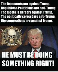 Memes, Trump, and Enemies: The Democrats are against Trump.  Republican Politicians are anti-Trump.  The media is fiercely against Trump.  The politically correct are anti-Trump.  Big corporations are against Trump.  HE MUST BEDOING  SOMETHING RIGHT! I must say, that list of enemies is one of the most impressive endorsements I've ever seen!  - Metal Law