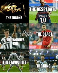 Desperate, Neymar, and Soccer: THE DESPERATE  THE THRONE  NEYMAR JR  10  THE BEAST  THE WONDER  RONALOO  THE FAVOURITE  THE KING Who do you support?? 😁