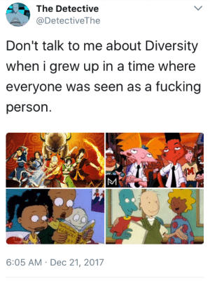 "cisnowflake: allthingswittyandneko:  feminists-against-feminism:  allthingswittyandneko: ""B-but there were no black characters ANYWHERE before we started blackwashing white superheroes! Just like there were no women in any movies at all before Ghostbusters!"" PATTY WAS BLACK?  Right?! So was Elisa Maza in Gargoyles.  This is shit that nobody even NOTICED before, because we were all JUST PEOPLE, which I've been told is the kind of society we're supposed to want. But today, god forbid you cast any character as… fucking ANYTHING, really, because someone will complain. And yes, most of the complaining IS coming from the side who hates seeing white characters in anything.  When I watched these shows I never once considered the race of the characters, and that's a good thing despite what progressives may have you believe. : The Detective  @DetectiveThe  Don't talk to me about Diversity  when i grew up in a time where  everyone was seen as a fucking  person.  6:05 AM Dec 21, 2017 cisnowflake: allthingswittyandneko:  feminists-against-feminism:  allthingswittyandneko: ""B-but there were no black characters ANYWHERE before we started blackwashing white superheroes! Just like there were no women in any movies at all before Ghostbusters!"" PATTY WAS BLACK?  Right?! So was Elisa Maza in Gargoyles.  This is shit that nobody even NOTICED before, because we were all JUST PEOPLE, which I've been told is the kind of society we're supposed to want. But today, god forbid you cast any character as… fucking ANYTHING, really, because someone will complain. And yes, most of the complaining IS coming from the side who hates seeing white characters in anything.  When I watched these shows I never once considered the race of the characters, and that's a good thing despite what progressives may have you believe."