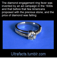 "Click, Facts, and Tumblr: The diamond engagement ring fever was  invented by an ad campaign in the 1930s  and that before that few Americans  price of diamond was falling  Ultrafacts.tumblr.com <p><a href=""http://ultrafactsblog.com/post/175024207676/source-x-click-here-for-more-facts"" class=""tumblr_blog"">ultrafacts</a>:</p><blockquote> <p><b><a href=""https://www.theatlantic.com/international/archive/2015/02/how-an-ad-campaign-invented-the-diamond-engagement-ring/385376/"">Source: [x]</a></b></p> <h2><b><a href=""https://t.umblr.com/redirect?z=http%3A%2F%2Fultrafactsblog.com%2F&amp;t=MWE0NTYzOWJjZTRkYTU3MWI1MTM1MmFhMzc0OTE2NTFkMzgyN2FjNixhSHJpSExFag%3D%3D&amp;b=t%3AKZJqzkUC6XCz-cRz_Su2Iw&amp;p=http%3A%2F%2Fultrafactsblog.com%2Fpost%2F173685642379%2Fsource-x-follow-ultrafacts-for-more-facts&amp;m=1"">Click HERE for more facts!</a></b></h2> </blockquote>  <p>This is poorly worded as fuck. Was it translated from another language?</p>"