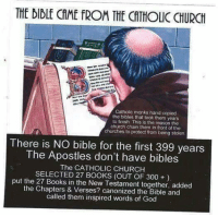 Image from: Women Without Religion: THE DIDLE CAME ROM THE CATHOLIC CHURCH  Catholic monks hand copied  the bibles that took them years  to finish. This is the reason the  church chain them in front of the  churches to protect from being stolen  There is NO bible for the first 399 years  The Apostles don't have bibles  The CATHOLIC CHURCH  SELECTED 27 BOOKS (OUT OF 300  put the 27 Books in the New Testament together, added  the Chapters & Verses? the Bible and  called them inspired words of God Image from: Women Without Religion