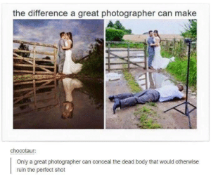 Can, Make, and Professional: the difference a great photographer can make  chocotaur:  Only a great photographer can conceal the dead body that would otherwise  ruin the perfect shot Deadly Professional