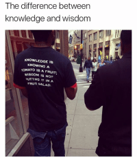 Fucking, Memes, and Pizza: The difference between  knowledge and wisdom  KNOWLEDGE IS  KNOWING A  TOMATO IS A FRUIT;  WISDOM IS NOT  PUTT NG IT IN A  FRUIT SALAD. Knowledge is knowing pineapple is fruit, wisdom is not to put it on a fucking pizza.