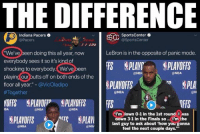 "🤔🤔💀: THE DIFFERENCE  Indiana Pacers .  @Pacers  SportsCenter .  @SportsCenter  We've been doing this all year, now  everybody sees it so it's kind of  shocking to everybody. We've been  playing our butts off on both ends of the  floor all year."" - @VicOladipo  #Toget her  LeBron is in the opposite of panic mode.  FS围PLAYI. !PLAYOFFS  PLAVOFFS  @NBA  @NBA  r PLA  @NBA  @N  IBA  ONBA  @NBA  I'm lown 0-1 in the 1st round I was  aown 3-1 in the Finals so.. I'm the  last guy to ask about 'how you gonna  feel the next couple days.""  凸  @NBA  @NB 🤔🤔💀"