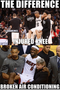 Cavs, Nba, and Spurs: THE DIFFERENCE  ONBAMEMES  INJURED KNEE  nals)  BROKEN AIR CONDITIONING A world of difference. #Spurs Nation #Cavs Nation