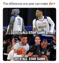 They're friends again 👀😂🔥 - Follow @_nbamemes._: The difference one year can make  35  DIRAN  ALL STAR  NOLA 17  2017 ALL STAR GAME  @ーNBAME MES.-  2018 ALL STAR GAME They're friends again 👀😂🔥 - Follow @_nbamemes._