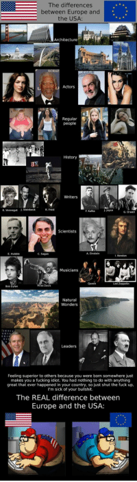 <p>The Differences Between Europe And The USA</p>: The differences  between Europe and  the USA:  Architecture  HAF  Actors  Regular  people  History  Writers  K. Vonnegut  . Steinbeck  R. Frost  F. Kafka  J. Joyce  G. Orwell  Scientists  E. Hubble  C. Sagan  A. Einstein  l. Newton  Musicians  Queen  Led Zeppelin  Bob Dylan  Miles Davis  Natural  Wonders  Leaders  Feeling superior to others because you were born somewhere just  makes you a fucking idiot. You had nothing to do with anything  great that ever happened in your country, so just shut the fuck up  I'm sick of your bullshit  The REAL difference between  Europe and the USA: <p>The Differences Between Europe And The USA</p>