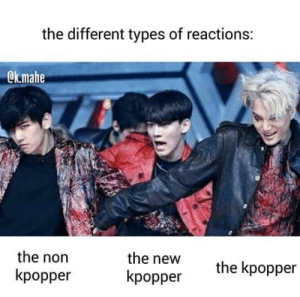 Memes, Exo, and New: the different types of reactions:  @k.mahe  the new  kpopper  the non  kpopper  the kpopper EXO memes