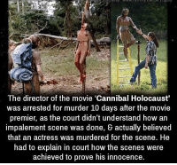 "https://t.co/HLkRxpHEzt: The director of the movie ""Cannibal Holocaust""  was arrested for murder 10 days after the movie  premier, as the court didn't understand how an  impalement scene was done, & actually believed  that an actress was murdered for the scene. He  had to explain in court how the scenes were  achieved to prove his innocence https://t.co/HLkRxpHEzt"
