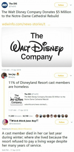 Bitch, Disney, and Disneyland: The DIS  @TheDIS  Follow  DIS  The Walt Disney Company Donates $5 Million  to the Notre-Dame Cathedral Rebuild  wdwinfo.com/news-stories/t ..  The  Company  11:33 AM 17 Apr 2019   tea jay  @teejiay  Follow  11% of Disneyland Resort cast members  are homeless  The DIS @TheDIS  The Walt Disney Company Donates $5 Million to the  Notre-Dame Cathedral Rebuild  The  Acr ф¡SNI  Company  wdwinfo.com/news-stories/t  11:37 AM 17 Apr 2019  11,203 Retweets 32,740 Likes   witch Bitch Jane RayBE  Follow  @YandereJane  Replying to @teejiay @stormflowercos  A cast member died in her car last year  during winter; where she lived because the  resort refused to pay a living wage despite  her many years of service.  9:40 PM - 17 Apr 2019 blackqueerblog:  To everyone looking for a source:https://www.tribpub.com/gdpr/chicagotribune.com/That part