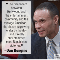 "Community, Friends, and Memes: The disconnect  between  Hollywood and  the entertainment  community and the  average American  the chasm is growing  wider by the day  and it really  only promotes  more Republican  victories.""  -Dan Bongino  FOX  NEWS On ""FOX & Friends Weekend,"" Daniel Bongino ripped anti-Donald J. Trump celebrities vowing to oust Republican politicians who voted for the AHCA."