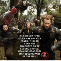 Good or bad thing?🔥 • • • • Follow @deadpoolfacts for your daily Deadpool dose. 👇👇👇👇 @vancityreynolds @ginajcarano @briannahilde 🙌 wadewilson deadpool marvel deadpool2 mcu infinitywar: THE DISNEY / FOX  TALKS ARE BACK ON  TRACK, THOUGH  SONY ARE  RUMOURED TO BE  SECOND CHOICE  MEANING DEADP00L  MAY BECOME PART DEADF L  OF THE MCU Good or bad thing?🔥 • • • • Follow @deadpoolfacts for your daily Deadpool dose. 👇👇👇👇 @vancityreynolds @ginajcarano @briannahilde 🙌 wadewilson deadpool marvel deadpool2 mcu infinitywar