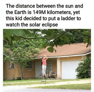 Reddit, Earth, and Eclipse: The distance between the sun and  the Earth is 149M kilometers, yet  this kid decided to put a ladder to  watch the solar eclipse I mean, it's not a lunar eclipse so this is stupid