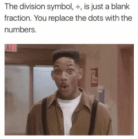 The Division, Never, and Blank: The division symbol  is just a blank  fraction. You replace the dots with the  numbers I never learned division cause I only intend to multiply