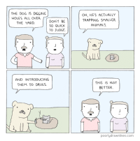 memes: THE DOG IS DIGGING  HOLES ALL OVER  DONT BE  THE YARD  SO QUICK  TO JUDGE  AND INTRODUCING  THEM TO DRUGS.  OH, HE'S ACTUALLY  TRAPPING SMALLER  ANIMALS.  THIS IS NOT  BETTER.  poorlydrawnlines.com