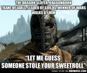 "Got back on Skyrim, Gotta love the Guards.omg-humor.tumblr.com: THE DRAGON SLAYVER, DRAGONBORN  THANE OF JARLS, LEADER OF GUILDS, WINNER OF WARS  WALKS BY HIM  ""LET ME GUESS  SOMEONE STOLE YOUR SWEETROLL""  FUNNY STUFF ON MEMEPIX.COM  MEMEPIX.COM Got back on Skyrim, Gotta love the Guards.omg-humor.tumblr.com"