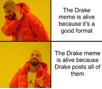 Alive, Drake, and Meme: The Drake  meme is alive  because it's a  good format  Ihe Drake meme  is alive because  Drake posts all of  them