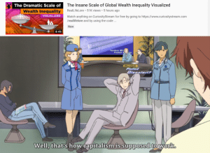 Anime, Work, and Capitalism: The Dramatic Scale  of The Insane Scale of Global Wealth Inequality Visualized  Wealth Inequality RealLifeLore 51K views 5 hours ago  VISUALIZED  Watch anything on CuriosityStream for free by going to https://www.curiositystream.com  reallifelore and by using the code..  New  8:49  Tandem Mir  Fusion Rator  Elucidale  Plotte  Well,  thatis how capitalismis supposedto work Capitalism