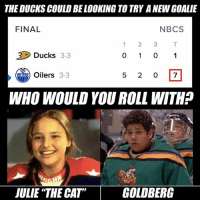 This is a tough one...: THE DUCKS COULD BELOOKING TO TRY ANEWGOALIE  FINAL  N BCS  2 3  Ducks 3-3  Oilers  3-3  WHO WOULD YOU ROLL WITHP  JULIE THE CATT GOLDBERG This is a tough one...