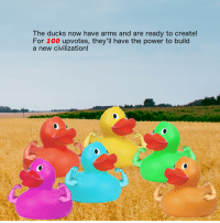 "Anaconda, Future, and Memes: The ducks now have arms and are ready to create!  For 100 upvotes, they'll have the power to build  a new civilization! <p>Interactive story-driven memes are the future! BUY!BUY BUY! via /r/MemeEconomy <a href=""http://ift.tt/2eydcK5"">http://ift.tt/2eydcK5</a></p>"
