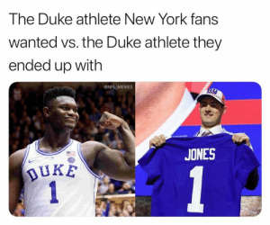 Knicks end up getting the 3rd overall pick! 😂: The Duke athlete New York fans  wanted vs. the Duke athlete they  ended up with  ONFL MEMES  JONES  DUKE Knicks end up getting the 3rd overall pick! 😂
