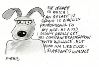 Memes, Fuck, and Fuck Everyone: THE DUREE  TO WHICH I  AN RELATE TO  GROMIT IS DIRECTLY  PROPORれONAL TO  MY AGE. AS A KID  DIDNIT REALY GET  HIS CONSTANT EXASPERPmOW  NOW Iim LIKE FUck  EVERYONE IS WALLACE Gromit thoughts