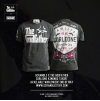 Introducing The Godfather Jiu-Jitsu line by Scramble Brand - Martial Arts Lifestyle, remember to keep your friends close and your enemies closer - http://store.scramblestuff.com/: The  e MADE  HAND  A M  The  KIMONO S  1891  SCRAMBLE X THE GODFATHER  CORLEONE KIMONOS TSHIRT  AVAILABLE WORLDWIDE END OF MAY  WWW.SCRAMBLESTUFF.COM  TM AND (C) 201S PARAMOUNT PICTURES.  ALL RIGHTS RESERVED. Introducing The Godfather Jiu-Jitsu line by Scramble Brand - Martial Arts Lifestyle, remember to keep your friends close and your enemies closer - http://store.scramblestuff.com/