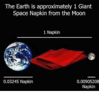 Memes, Earth, and Giant: The Earth is approximately 1 Giant  Space Napkin from the Moon  1 Napkin  0.03245 Napkin  0.00905208  Napkin really puts things into perspective