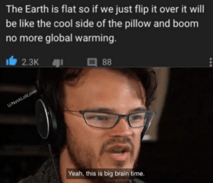 Be Like, Global Warming, and Yeah: The Earth is flat so if we just flip it over it will  be like the cool side of the pillow and boom  no more global warming.  2.3K  88  U/NotALoliLover  Yeah, this is big brain time. Idea from u/Tvita01