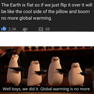 Be Like, Global Warming, and Cool: The Earth is flat so if we just flip it over it will  be like the cool side of the pillow and boom  no more global warming  I2.3K  88  Well boys, we did it. Global warming is no more me irl
