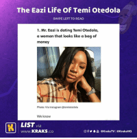 Dating, Funny, and Instagram: The Eazi Life Of Temi Otedola  SWIPE LEFT TO READ  1. Mr. Eazi is dating Temi Otedola,  a woman that looks like a bag of  money  Photo: Via Instagram @temiotedola  We know  LIST via  wWw.KRAKS.co  f  @KraksTV | @KraksHO Omg 😭😭 Tag someone to see this ⬇️⬇️ . KraksTV MrEazi TemiOtedola Funny