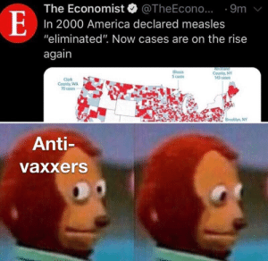 """I wonder why via /r/memes http://bit.ly/2GGHjy1: The Economist. @TheEcono.. . 9m  In 2000 America declared measles  """"eliminated"""". Now cases are on the rise  again  linois  5 cases  County, NY  143 cases  Clark  County, WA  70 cases  Brooklyn, NY  Anti-  vaxxers I wonder why via /r/memes http://bit.ly/2GGHjy1"""