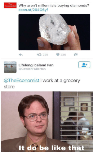 Shaking my head: The  Economist Why aren't millennials buying diamonds?  econ.st/294G6yf  229  236  Lifelong Iceland Fan  @CowlonFullerton  @TheEconomist I work at a grocery  store  It do be like that Shaking my head