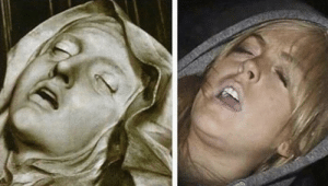 The Ecstasy of St. Teresa By Gian Lorenzo Bernini(1647-1652)/ Lindsay Lohan passed out after a night of partying(2007): The Ecstasy of St. Teresa By Gian Lorenzo Bernini(1647-1652)/ Lindsay Lohan passed out after a night of partying(2007)