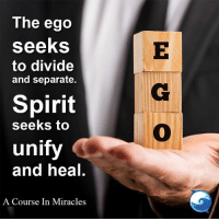 "Memes, Spirit, and Miracles: The ego  seeks  to divide  and separate.  Spirit  seeks to  unify  and heal  A Course In Miracles ""I choose Spirit."""