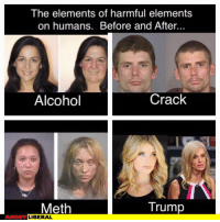 Scary stuff: The elements of harmful elements  on humans. Before and After...  Crack  Alcohol  Trump  Meth  ANGRY  LIBERAL Scary stuff