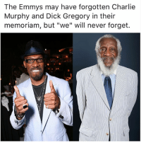 """Charlie, Charlie Murphy, and Memes: The Emmys may have forgotten Charlie  Murphy and Dick Gregory in their  memoriam, but """"we"""" will never forget."""