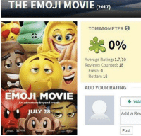 Emoji, Fresh, and Funny: THE EMOJI MOVIE  (2017)  TOMATOMETER  0%  Average Rating: 1.7/10  Reviews Counted: 18  Fresh: 0  Rotten: 18  ADD YOUR RATING  EMOI MOVIE  beyond words  WA  An  JULY 28  Add a Re  Post Who tryna go on a date and watch this with me