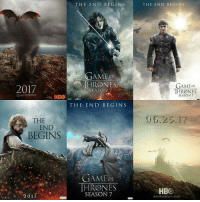 all these fanmade posters getting me hella excited!!😈: THE EN D BEGINS  GAME  a T RODNES  2017  SEASON 7  GAME THRONES  HBO  THE END BEG IN S  THE  END  BEGINS  AMEOF  HRONNES  SEASON 7  2017  HBO  THE EN D BEGIN S  GAME CF  THRONES  SEASON 7  IG univer seotthrones  06.25.17  HBO  DESGNEY MARTIN A. HAASE all these fanmade posters getting me hella excited!!😈