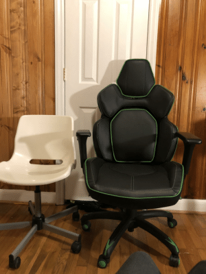 "The end of an era. I've had the chair on the left and used it every day for more than seven years. Today, I upgrade. As the box it came in would put it, ""a comfortable gamer, is a dangerous gamer"".: The end of an era. I've had the chair on the left and used it every day for more than seven years. Today, I upgrade. As the box it came in would put it, ""a comfortable gamer, is a dangerous gamer""."