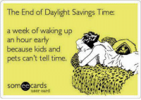 Daylight Savings: The End of Daylight Savings Time  a week of walking up  an hour early  because kids and  pets can't tell time.  cards  user card