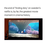 Netflix, Finding Dory, and History: the end of 'finding dory' on sweden's  netflix is, by far, the greatest movie  moment in cinema history. <p>😂😂😂</p>