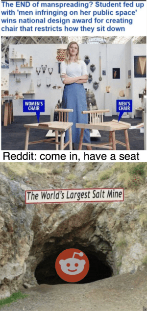 Reddit, Space, and Dank Memes: The END of manspreading? Student fed up  with 'men infringing on her public space'  wins national design award for creating  chair that restricts how they sit down  WOMEN'S  CHAIR  MEN'S  CHAIR  Reddit: come in, have a seat  7  The World's Largest Salt Mine Commence echo sequence