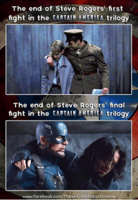 Facebook, Finals, and Memes: The end of Steve Rogers first  fight in the  CAPTAIN AMLLITA trilogy  The end of Steve Rogers' final  fight in the  tARTAIN trilogy  www.facebook.com/Marve (Benchji)