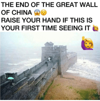 Memes, 🤖, and Wii: THE END OF THE GREAT WALL  OF CHINA  RAISE YOUR HAND IF THIS IS  YOUR FIRST TIME SEEING IT 🙋🙋🙋🙋 I've never seen this before, raise your hand if it's your first time seeing it!🙋 🎮Follow my other page, no shoutouts ever 👉🏼@gamefade ➖➖➖➖➖➖➖➖ 🎮Credit; @gaming_p0sts I fixed the grammar lol 🚀Turn on Post Notifications ❤️Double Tap ➖➖➖➖➖➖➖➖ ▪️Hashtags - (ignore please). CallofDuty Xbox singleplayer counterstrike BlackOps2 CodMemes Playstation Gamer Halo multiplayer Destiny Minecraft XboxOne Xbox360 GTA5 GTAV BlackOps3 9gag BO3 BO2 wiiu Games VideoGames gamers steam csgo Wii console multiplayer 😏Tag a friend if you see this😏